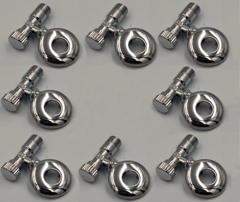 ASW Eckventil 1/2 Zoll x (3/8 Zoll) 10mm - messing verchromt 8-er Set