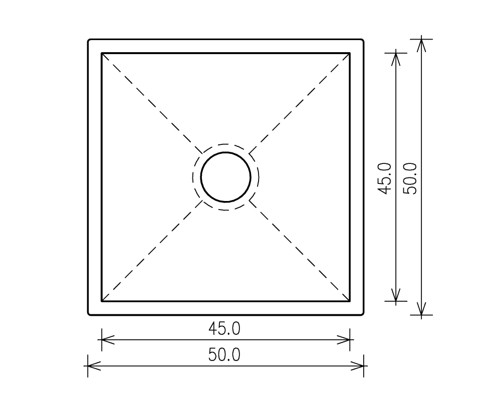 Nullradiusbecken Edelstahl Edelstahlspüle 50x50x25cm