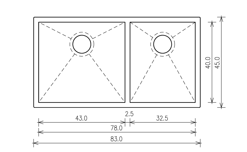 Nullradiusbecken Edelstahl Edelstahlspüle 83x45x25cm