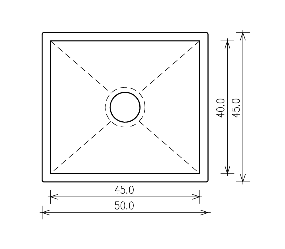 Nullradiusbecken Edelstahl Edelstahlspüle 50x45x25cm