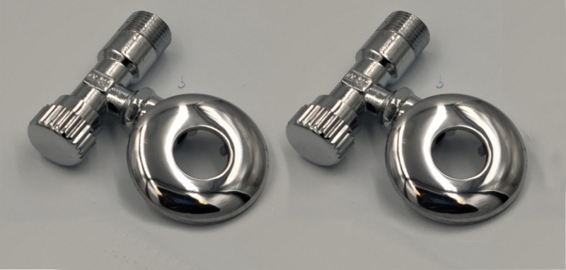 ASW Eckventil 1/2 Zoll x (3/8 Zoll) 10mm - messing verchromt 2-er Set