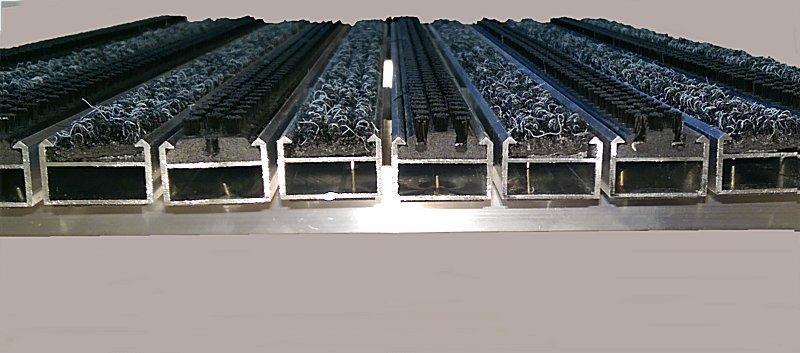 Eingangsmatten  mit Rips/Bürste  nach Maß, Höhe 15/20/25mm  100 x 40 Höhe 15 mm V2A Rahmen Ripsfarbe grau