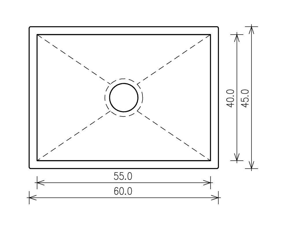 Nullradiusbecken Edelstahl Edelstahlspüle 60x45x25cm