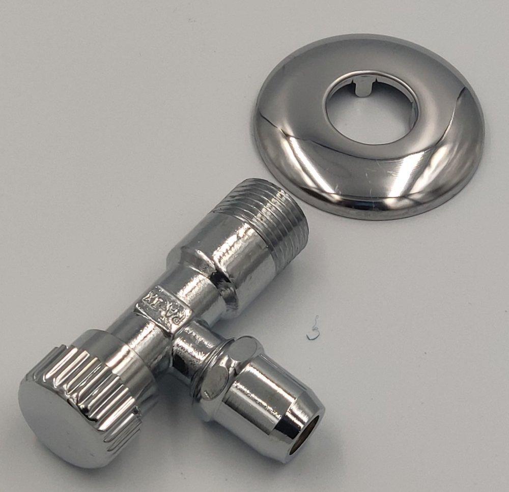 ASW Eckventil 1/2 Zoll x (3/8 Zoll) 10mm - messing verchromt 4-er Set