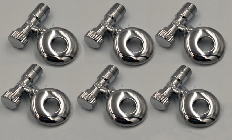 ASW Eckventil 1/2 Zoll x (3/8 Zoll) 10mm - messing verchromt 6-er Set