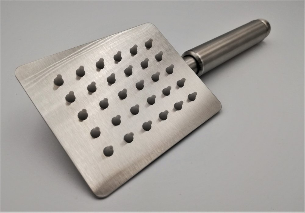 Stabhandbrause Edelstahl (Rechteckig 10/8cm)  Edelstahl Oberfläche gebürstet